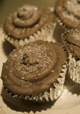 Caramel Mocha Truffle cupcakes displayed on a platter.