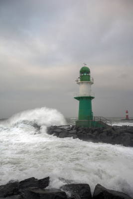 Lighthouse with stormy seas