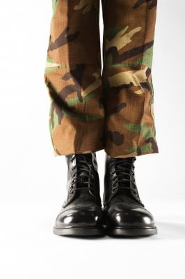 feet and legs for a solider dressed in camo