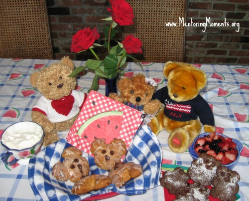 Teddy Bear picnic with a plate of homemade teddy bear scones. www.MentoringMoments.org
