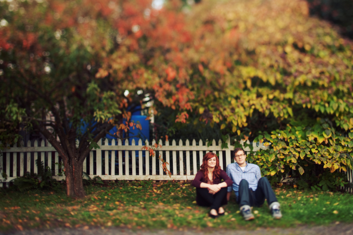 fall tree with couple