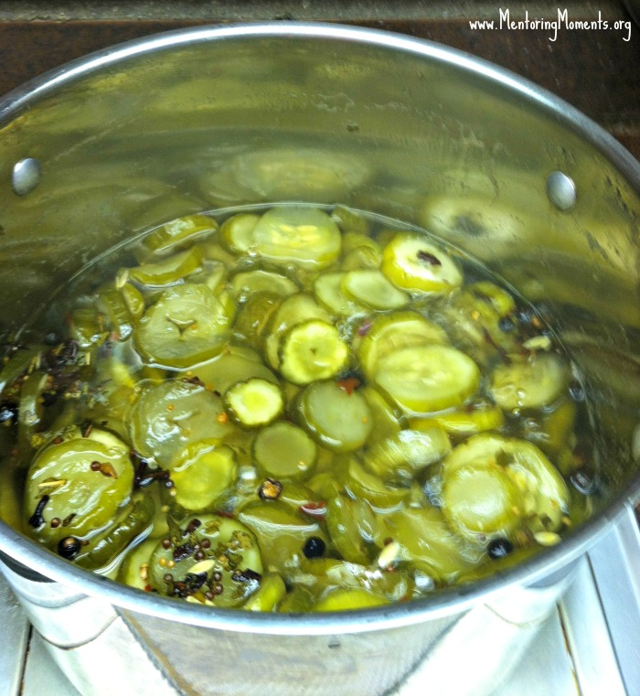 Stock pot filled with simmering cucumbers / soon to be sweet pickles. Day three of pickling process.