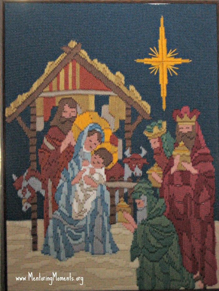 Needlework Nativity scene.