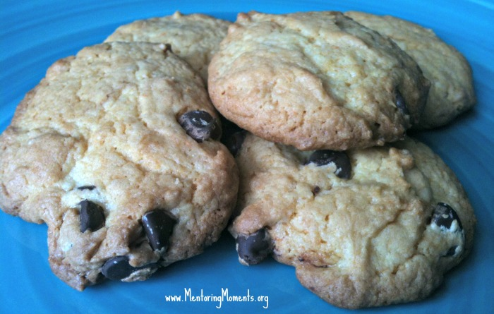 Chocolate Chip cookies made using cake mix.